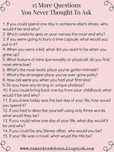 Get to know you questions. by etta