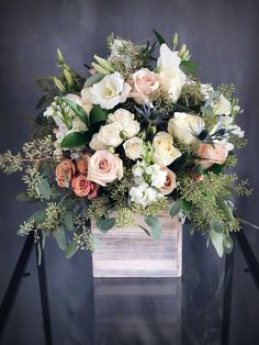 Send - Tall soft colors wood box arrangement in Hallandale Beach, FL from KK Flowers, the best florist in Hallandale Beach. All flowers are hand delivered and same day delivery may be available. Rustic Flower Arrangements, Beautiful Flower Arrangements, Rustic Flowers, Wedding Table Centerpieces, Wedding Flower Arrangements, Floral Centerpieces, Beautiful Flowers, Wood Box Centerpiece, Tall Flowers