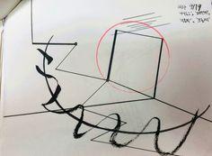 Practice 1-9 (3주차). 켄트지에 볼펜, 잉크펜, 색연필 및 붓펜.  '아날로그', '패턴적', '즉흥적', '흐름적', '추상성+형상성'.  빨간 전구에 불이 켜지는 순간과 과정의 단계를 표현. 전기의 흐름은 눈에 보이지 않기에 추상성이 있으면서도 전구가 켜지는 과정은 형상성을 띔.