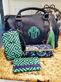 Initials, Inc Combo our Signature Barrell, tassel, YBL, Tech Wallet, & key card Navy & Kelly Green!! www.myinitials-inc.com/sassypurseparty