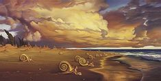Sunset On The Beach - Vladimir Kush...now that is just surreal with the Tuba Snails!