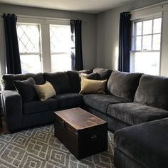 Ballinasloe Sectional with Chaise Grey Sectional, 3 Piece Sectional, Living Room Sectional, Rustic Living Room Furniture, Living Room Decor Cozy, At Home Store, Contemporary Design, Ideal Home, Farmhouse Style