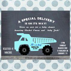 NEW Chalkboard Blue Dump Truck Baby Shower by SweetPapermint