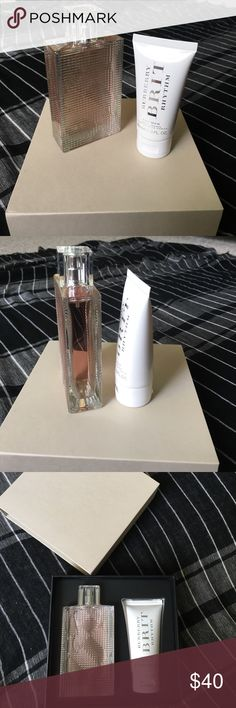 Burberry Brit Rhythm for Her perfume set. Burberry. New with box. Recommended for casual wear. 3.0 oz spray + 1.6 oz lotion. Burberry Makeup