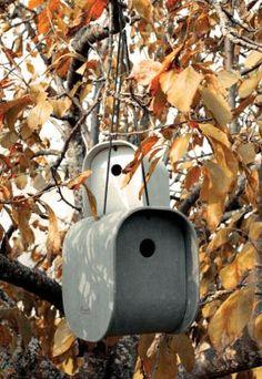 Sleek concrete birdhouses!