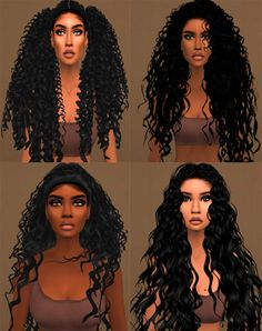 Cabelos cacheados e tranças /Curly Hair and Braids The Sims 4 Sims 4 Curly Hair, Sims Hair, Short Curly Hair, Curly Hair Styles, Sims 4 Afro Hair Cc, Toddler Curly Hair, Curly Girl, Sims 4 Teen, Sims 4 Toddler