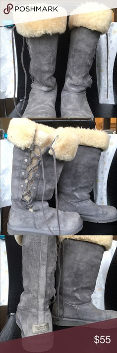 Ugg Grey Tall Boots with Tie Comfy and worn twice uggs. Very warm and soft UGG Shoes Winter & Rain Boots