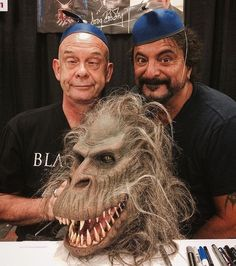 """Horror legend Doug Bradley with horror special effects master Tom Savini and The Beast from Creepshow story """"The Crate"""" Real Horror, Horror Show, Horror Icons, Horror Films, Tom Savini, Monster Makeup, Fx Makeup, Scary Stories, Dark Places"""