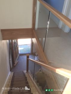 Abbott-Wade oak staircase with inline glass balustrade waiting for carpet. Abbott-Wade oak staircase with inline glass balustrade waiting for carpet. Staircase Banister Ideas, Staircase Outdoor, Banister Remodel, House Staircase, Staircase Design, Balustrades, Glass Balustrade, Glass Stairs, Glass Bannister