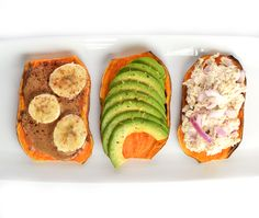 5 Sweet Potato Toast Recipes (Because Bread Gets Boring) — Greatist Real Food Recipes, Vegetarian Recipes, Cooking Recipes, Healthy Recipes, Snack Recipes, Avocado Recipes, Dinner Recipes, Sweet Potato Toast, Whole 30 Breakfast