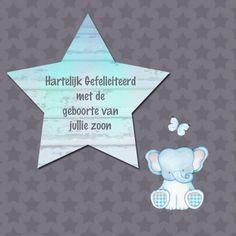 Felicitatie jongen olifantje - Felicitatiekaarten - Kaartje2go Christmas Wishes, Get Well, New Baby Products, Congratulations, Pregnancy, Anniversary, Birthday, Party, Wedding