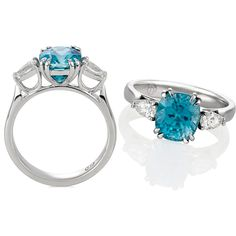 Blue Zircon and Diamond Ring Diamond Alternatives, Jewelry Box, Jewellery, Rings N Things, Blue Zircon, Fingers, Jewelry Design, Bling, Wedding Ideas