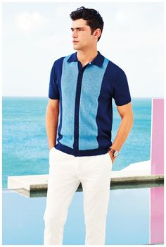 Channeling the 1950s, #SeanOPry wears a color block short-sleeve shirt for British retailer #Next