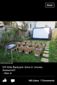 Kids outdoor movie for birthdays via Marilyn Petty
