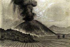 Gerardo Murillo (Dr. Atl), El Paricutín el 26 de febrero de 1943, papel y carboncillo