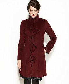 Tahari Coat, Kendra Ruffled Wool-Blend