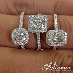Our French cut halo style looks great with any shape center stone. This is shown with a round, princess, and radiant cut center stone. #haloring #diamondhalorings