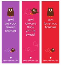 Owl Valentine's Day Bookmarks - Free Printable Design by Amy Locurto Valentine Day Love, Valentines For Kids, Valentine Day Crafts, Valentine Ideas, Funny Valentine, Valentine Sayings, Valentines Balloons, Valentine Stuff, Valentine Activities