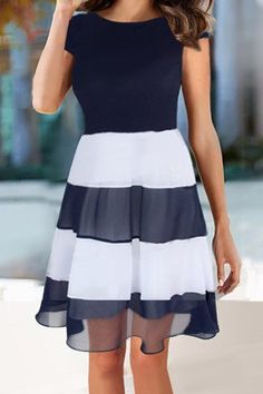 Elegant Jewel Neck Sleeveless Striped Splicing Dress For Women