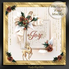 White Christmas Card Front Mini Kit.3 by Maria Vieira White Christmas Word Art Card Front Mini Kit. series comes with 5 sheets, Card front…