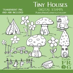 TINY HOUSES - Digital Stamp Set by Purple Frog on Etsy