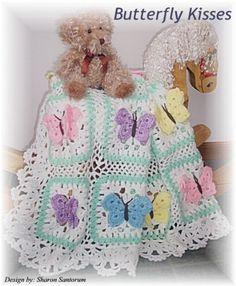 Butterfly Kisses baby afghan or blanket crochet pattern