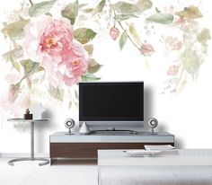 55 x 35 Watercolor Roses Fresh Spring Flower & by DreamyWall