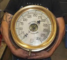 "Absolutely Huge 14"" Steam Gauge Bigelow New Haven Ashcroft Double Spring"