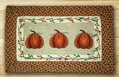 "Harvest Pumpkin Rectangle Braided Jute Rug 20""x30"""