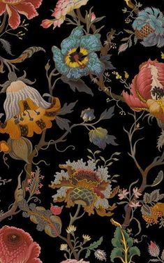 'Artemis' is House of Hackney's non-conformist take on a traditional floral design. Inspired by the work of William Morris as well as Diana Vreeland's iconic Garden in Hell room, this painterly print depicts Victorian-inspired wild flowers intricately ill William Morris Wallpaper, William Morris Art, Morris Wallpapers, Black Wallpaper, Fabric Wallpaper, Botanical Wallpaper, Graffiti Art, Art Nouveau, William Morris Patterns
