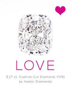 3.17 carat cushion cut diamond. GIA certified VVS1 clarity and G color. Natural, HPHT diamond. By Hadar Diamonds.