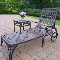 Elite Cast Aluminum Outdoor Chaise Lounge Chair 2-piece Set, Brown Oth