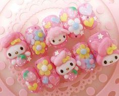 japanese nails my melody flowers handmade fake nails kawaii~~^^ Kawaii Nail Art, 3d Nail Art, Cool Nail Art, Shoe Nails, 3d Nails, Acrylic Nail Designs, Nail Art Designs, Hello Kitty Nails, Nail Tattoo