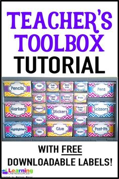 Stay organized with this teachers toolbox tutorial! Grab your free labels to create your own! Teachers Toolbox, Teacher Pay Teachers, Teacher Toolbox Labels, Teacher Gifts, Teacher Binder, Teacher Desks, Future Classroom, Classroom Decor, Kindergarten Classroom