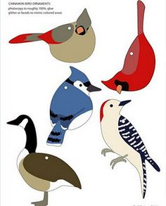 Templates for bird ornaments. These would also be great in appliqué quilt blocks.