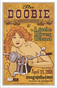 Vintage, retro, hippie, classic rock concert poster - Doobie Brothers and Little River Band