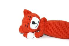 Crochet Amigurumi Cat Amineko Orange and White Tabby by pigswife, $28.00