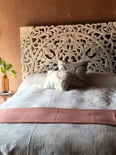 Our imported headboards are available in a whitewashed finish or natural and could be custom made any size. Imagine these behind banquettes or as wall details...