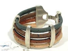 Mooie Cork Armband met Zamak 3 bars CORK * Cork Sieraden * Cork Gift * vrouw armband * door Cozy Detailz on Etsy, €22,94