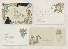 Save the Dates or Vintage Wedding Invitations Deco by GoGoSnap