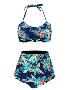 ef390a7a652 Hilor Women's Retro High-Waisted Ruffled Tankini Two piece Swimsuit Bikini  16 Hawaii