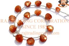 Sunstone Faceted Heart (Quality AAA) Shape: Heart Faceted Length: 18 cm Weight Approx: 5 to 7 Grms. Size Approx: 6.5 to 9 mm Price $19.80 Each Strand