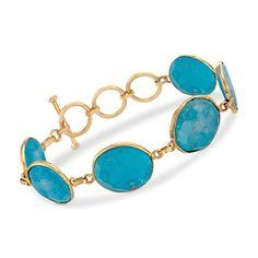 "Turquoise Toggle Bracelet in 14kt Gold Over Sterling. 7.75""   #831352 @ ross-simons.com"