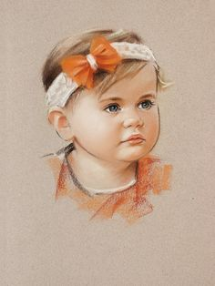 orange bow portrait painting of a little girl pastel on canson mi teintes paper this commissioned portrait drawing is 100 handmade with artistic g Portrait Sketches, Art Drawings Sketches, Portrait Art, Artistic Portrait, Colored Pencil Portrait, Color Pencil Art, Soft Pastel Art, Pastel Drawing, Watercolor Portrait Painting