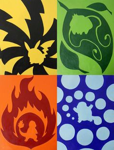 Starter Pokemon Painting Print 10.5 by 13.8 by featherweightshop, $8.00