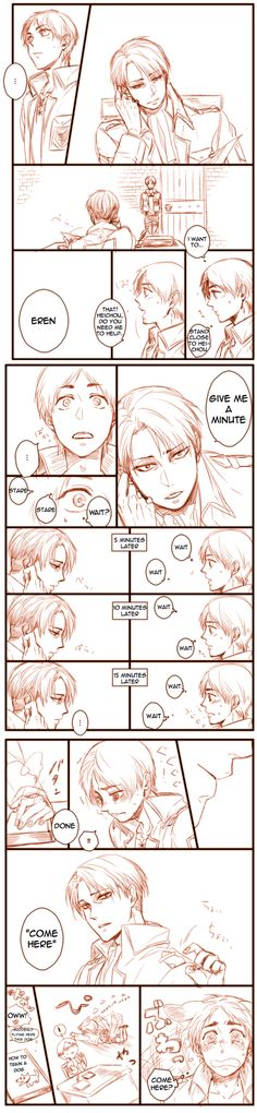 """Attack on Titan ~~ Heichou tries to train his new """"dog"""" :: Levi and Eren"""