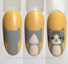 No photo description available. Cat Nail Art, Animal Nail Art, Cat Nails, Nail Art Diy, Cat Nail Designs, New Nail Art Design, Nail Art Designs Videos, Nail Drawing, Nail Art Pictures