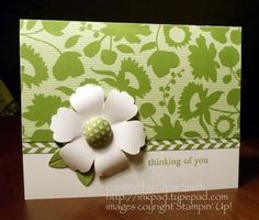 Stampin Up Summer Smooches-The flower is made with the Blossom punch (Occasions Mini) and its center is one of the Summer Smooches Fabric Designer Brads.