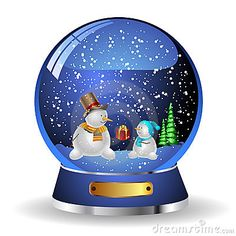 Thanksgiving Snow Globe Clip Art | Illustration snow globe with a christmas tree and snowman within ...