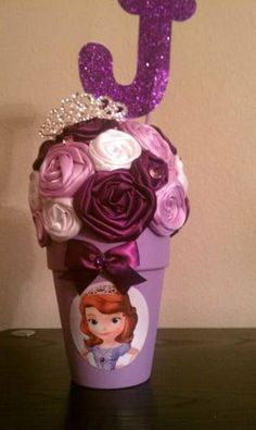 Sofia The First centerpiece vase pot or by KhloesKustomKreation, $7.50